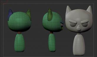 卡通角色《喵喵美国队长》3D模型雕刻流程