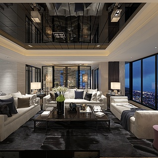 港式客厅3d模型
