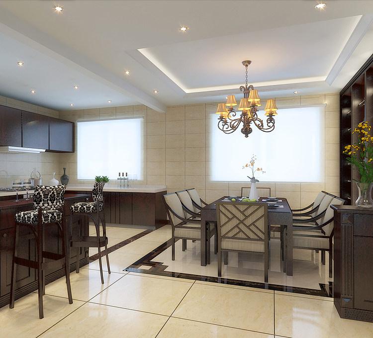 新中式别墅客厅模型