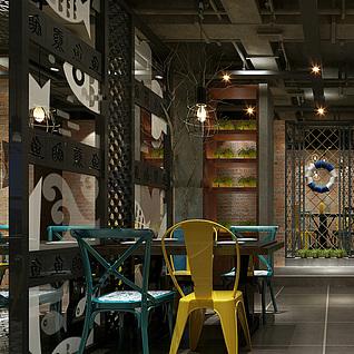 地中海风格餐厅整体模型