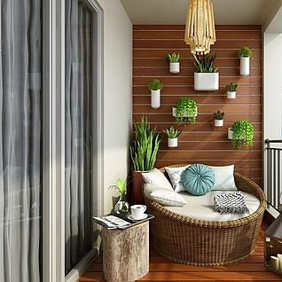 植物装饰墙整体模型