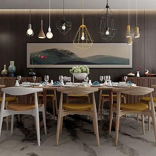 现代工业loft餐厅3d模型