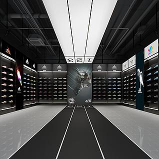 阿迪达斯鞋子专卖店整体模型
