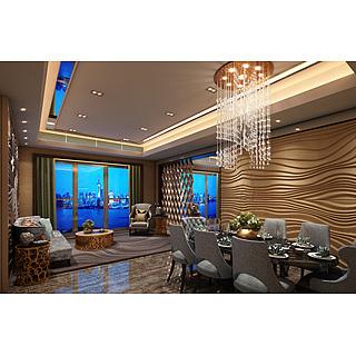 现代风格客餐厅整体模型
