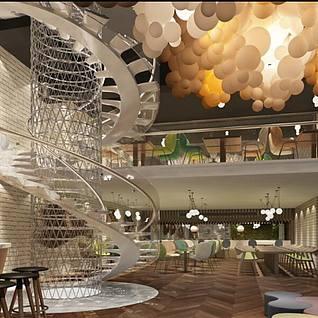 现代时尚简约咖啡厅整体模型