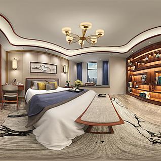 中式卧室全景整体模型
