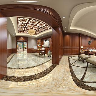 美式客厅整体模型