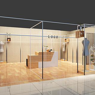 空间感服装店抽象与具象3d模型