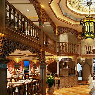 豪华餐厅整体模型