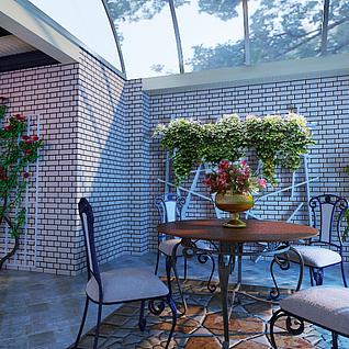 阳台庭院整体模型