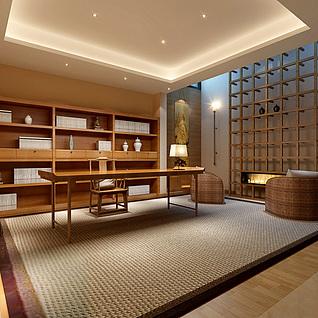 日式书房整体模型