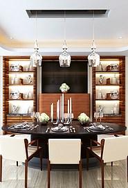 西式餐厅餐桌椅整体模型
