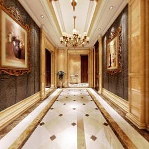 歐式門廳全景整體模型