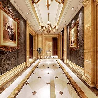欧式客厅360度全景模型整体模型