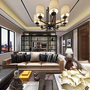 后现代客厅整体模型
