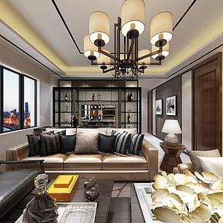 后现代客厅3d模型