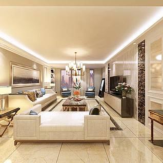 简欧客厅整体模型