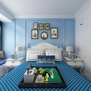 地中海卧室全景3d模型
