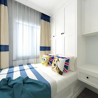 地中海风格卧室全景整体模型