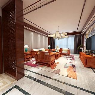 中式家装全景整体模型