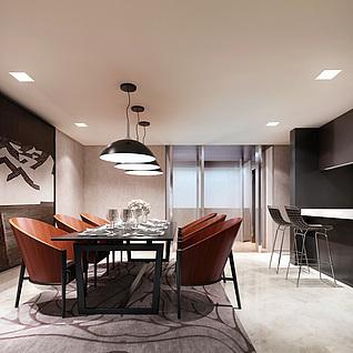 现代风格餐厅3d模型