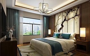 中式卧室3d模型