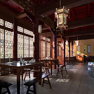 古典中式饭馆整体模型
