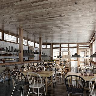 现代工业风餐厅整体模型