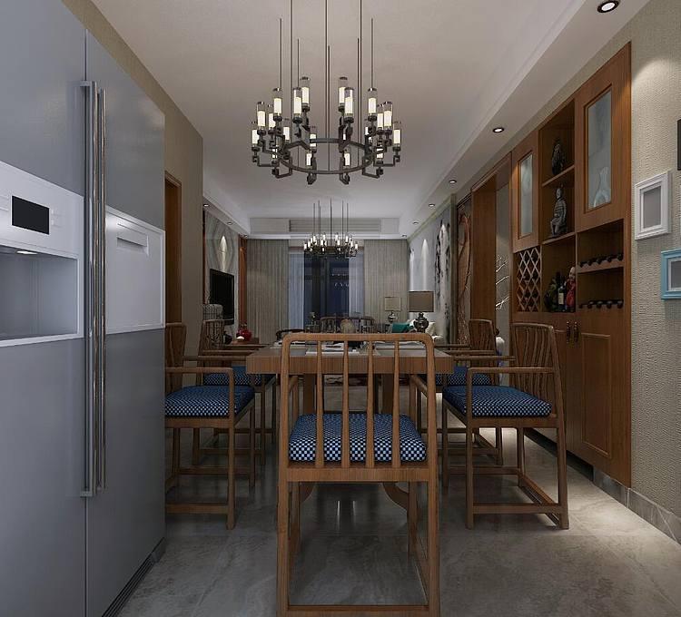 新中式客厅模型