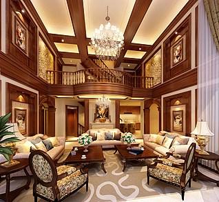 欧式别墅客厅3d模型