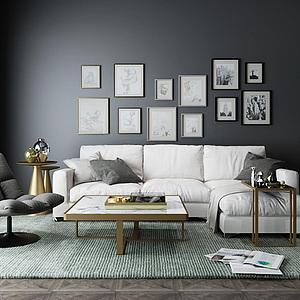 現代<font class='myIsRed'>懶人沙發</font>休閑椅子組合整體模型