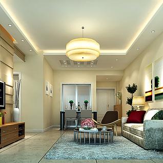 现代风格客厅整体模型