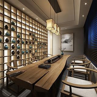 中式茶楼整体模型