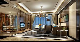 现代客厅整体模型