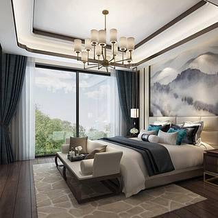 现代卧室整体3d模型
