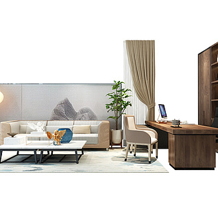 现代办公家具组合3d模型