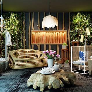 东南亚客厅3d模型