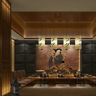 日式餐厅包房整体模型