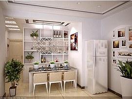家装客厅、<font class='myIsRed'>餐厅</font>、走廊整体模型