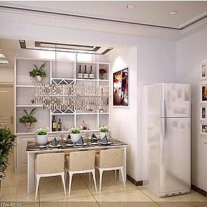 家装<font class='myIsRed'>客厅</font>、餐厅、走廊整体模型