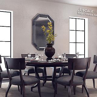 餐厅餐桌整体模型