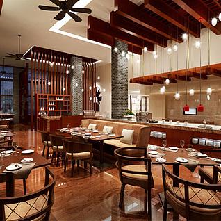 美式现代咖啡店沙发椅子吊扇整体模型