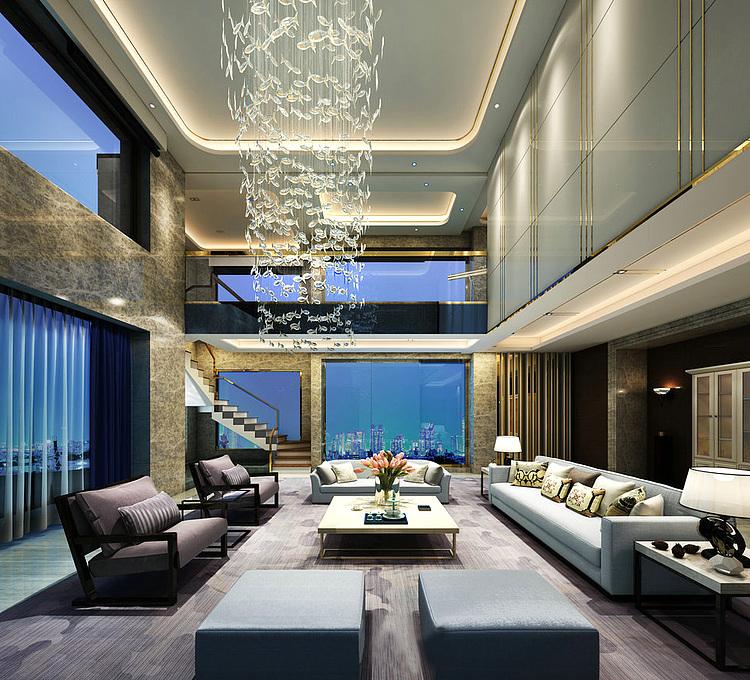 现代复式客厅模型