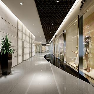 现代服装店过道整体方案整体模型