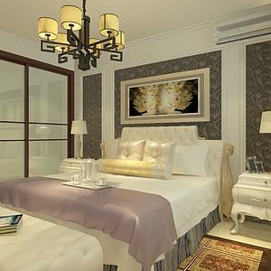 新中式客餐廳外加一個臥室整體模型