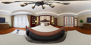 中式全景卧室3d模型
