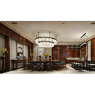新中式餐厅包房整体模型