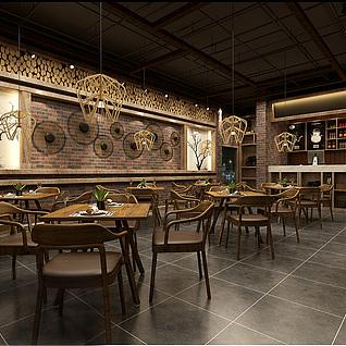 时尚特色餐厅整体模型