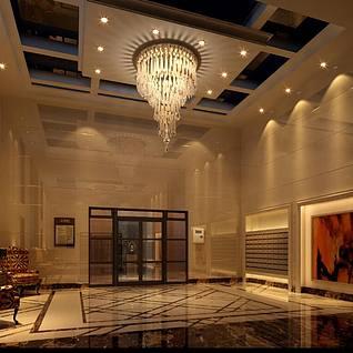 现代楼层门厅大厅前台整体模型