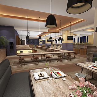 现代员工餐厅3d模型